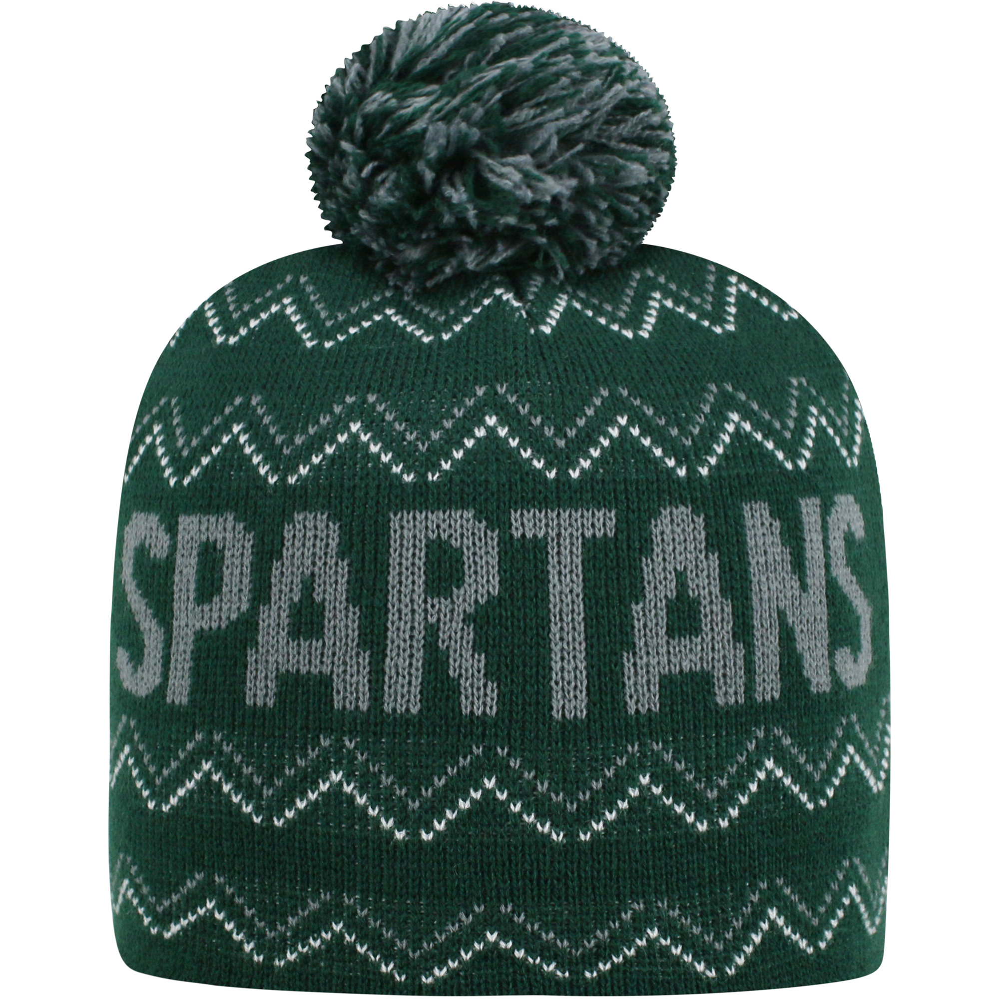 Youth Russell Green Michigan State Spartans Rimy Knit Beanie With Pom - OSFA