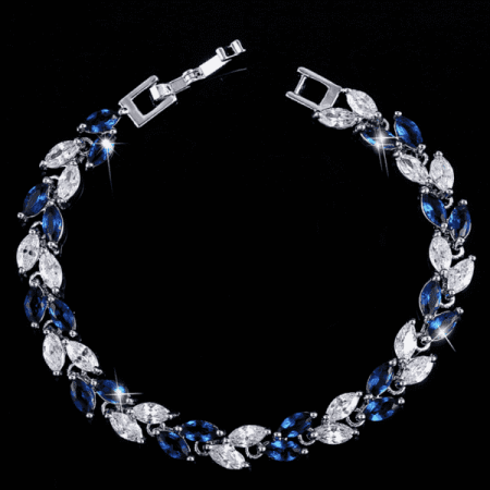 ON SALE - Sapphire Marquise Leaf Swiss CZ Diamonds Tennis Bracelet Sapphire Colored Sapphire Diamond Bracelet