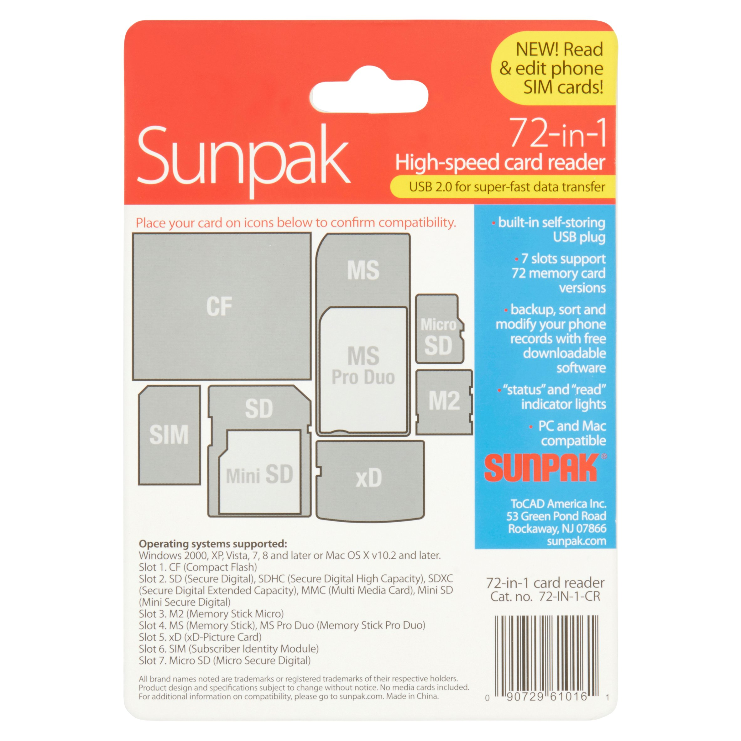 Sunpak 72-in-1 High-Speed Card Reader - Walmart com