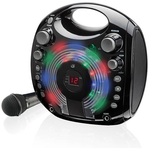 GPX J097B Karaoke Machine with Multi Color LED Party Lights by GPX