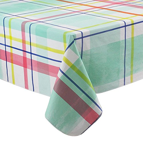 Incroyable Spring Summer Plaid Vinyl Tablecloth Flannel Backed (70 Round)