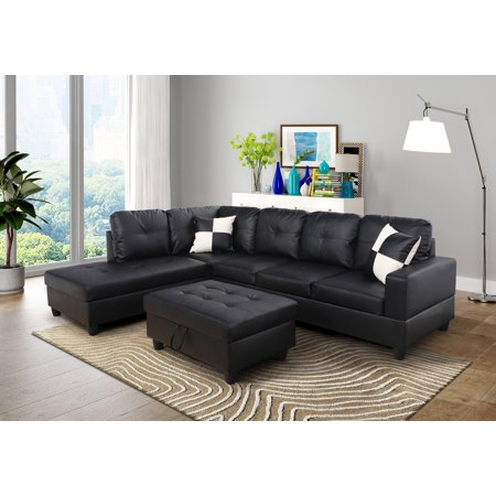 AYCP Furniture L Shape Sectional Sofa with Ottoman, Left Chaise, Black Faux Leather (Black Sectional Couch)