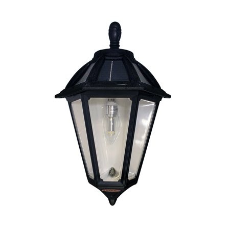 "Image of ""Gama Sonic 179010 Black Polaris Solar Powered 18"""" Tall 2700K Led Outdoor Wall Sconce"""