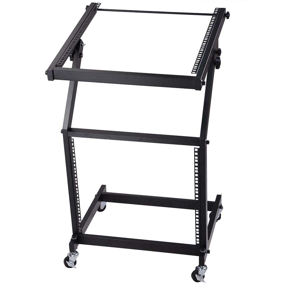 DJ Rack Mount Studio Mixer Stand Stage Cart w/ Wheel Adjustable Music Equipment Party Show 9UX