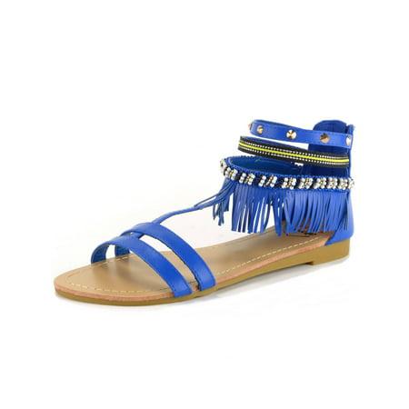 Alpine Swiss Womens Fringe Sandals Beaded & Studded Strappy Gladiator Ankle Flat (Strappy Gladiator)