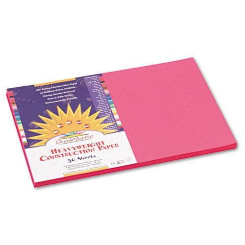 "Sunworks Groundwood Construction Paper - 18"" X 12"" - Hot Pink (9107)"