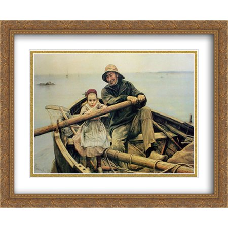 Hand Print Art (The Helping Hand, 1881 2x Matted 34x28 Large Gold Ornate Framed Art Print by Renouf,)