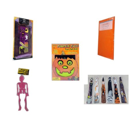 Halloween Fun Gift Bundle [5 Piece] - Happy  Door Panel - Bright Pumpkin Orange Plastic Table Cover  - Darice Pumpkin Face Fun Felt Kit - Frankenstein - Hanging Skeleton Pink -  Wooden Craft Stick F