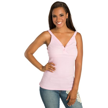 - Sweet Vibes Junior Women Tank Tops Stretch Cotton Rib Pink V-Plunge Neck Buttons