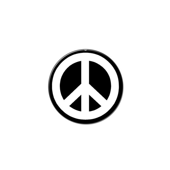Peace Sign White On Black Lapel Hat Pin Tie Tack Small Round