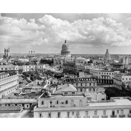 1930s-1940s View From Sevilla Hotel Of Capitol Building Skyline Of Havana Cuba Print By Vintage