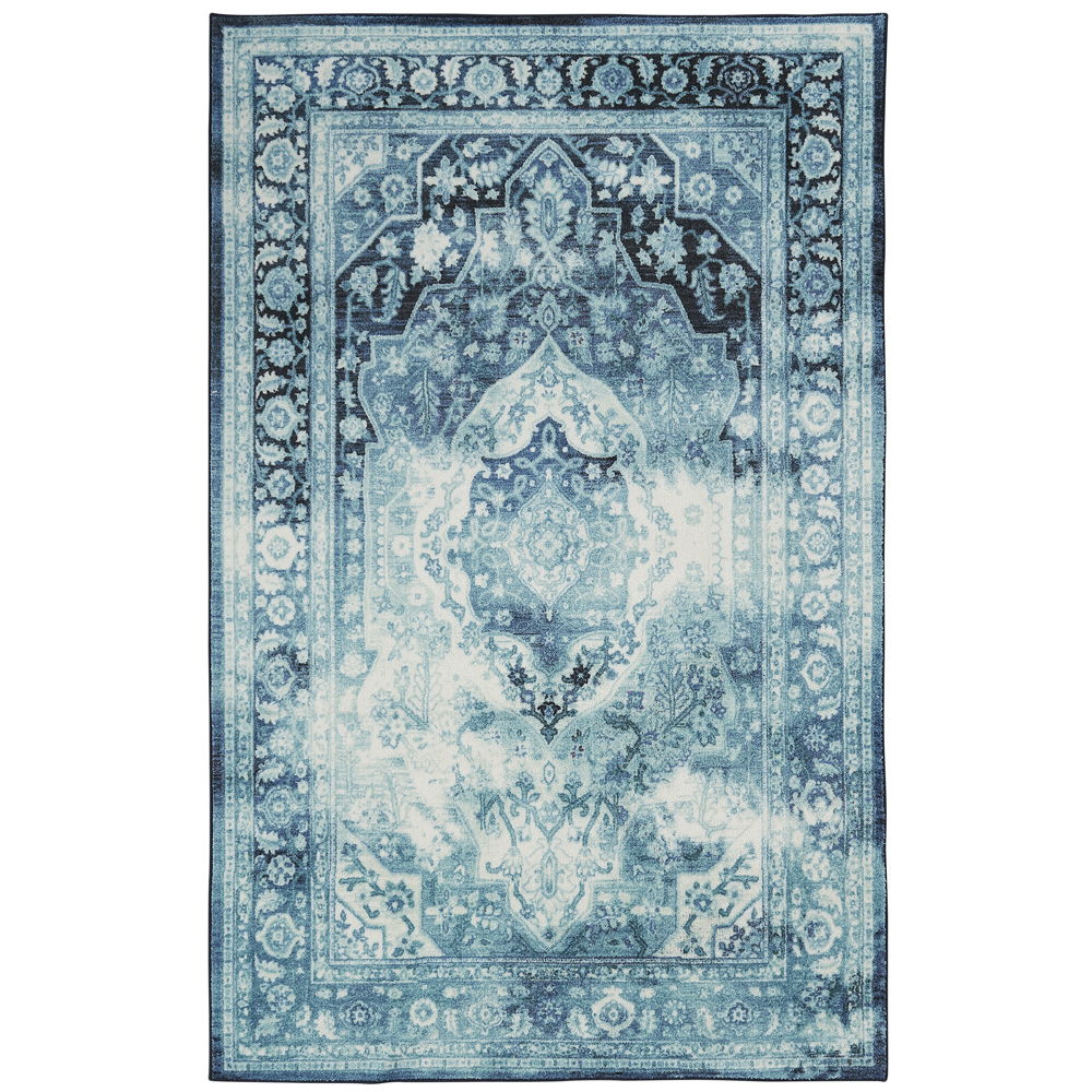 Mohawk Prismatic Area Rugs - Z0036 A229 Traditional Oriental Teal / Aqua Bleached Stained Medallion Floral Rug