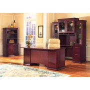 Westboro Office Set w TriCabinet Overhead (66 in. Box/Box/File drawers/Rouge Mahogany)