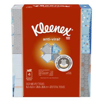 Kleenex Anti-Viral Facial Tissues, Cube Box, 68 Tissues per Cube Box, 4 Packs