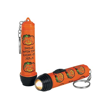 Fun Express - Religious Pumpkin Flashlight Key Chain for Halloween - Apparel Accessories - Key Chains - Light Up Key Chains - Halloween - 12 Pieces](Tags For Halloween)