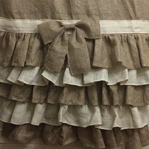 Km Curtains Handmade Ruffled natural burlap shower curtain with ties 73X73