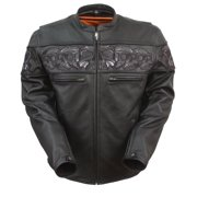 Mens Leather Reflective Skull Scooter Jacket - XL