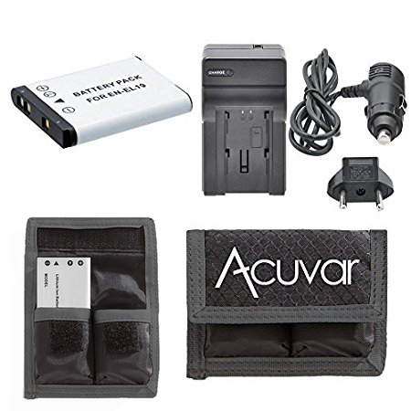 EN-EL19 Rechargeable Battery + Car / Home Charger + Acuvar Battery Pouch For Nikon Coolpix