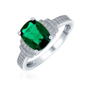 5CT Cubic Zirconia CZ Pave Rectangle Green Simulated Emerald Cut Statement Engagement Ring for Women Sterling Silver