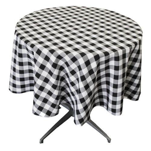 LA Linen Polyester Gingham Checkered Round Tablecloth by LA Linen