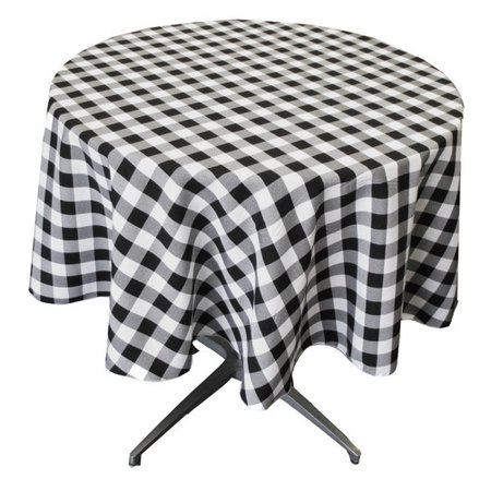 LA Linen Polyester Gingham Checkered Round - Gingham Linen