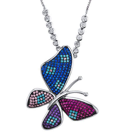 """Ring Wright Co. Large Multi Color Butterfly Pendant with Simulated Turquoise CZ Gemstone adjustable Necklace 16""""-28"""""""