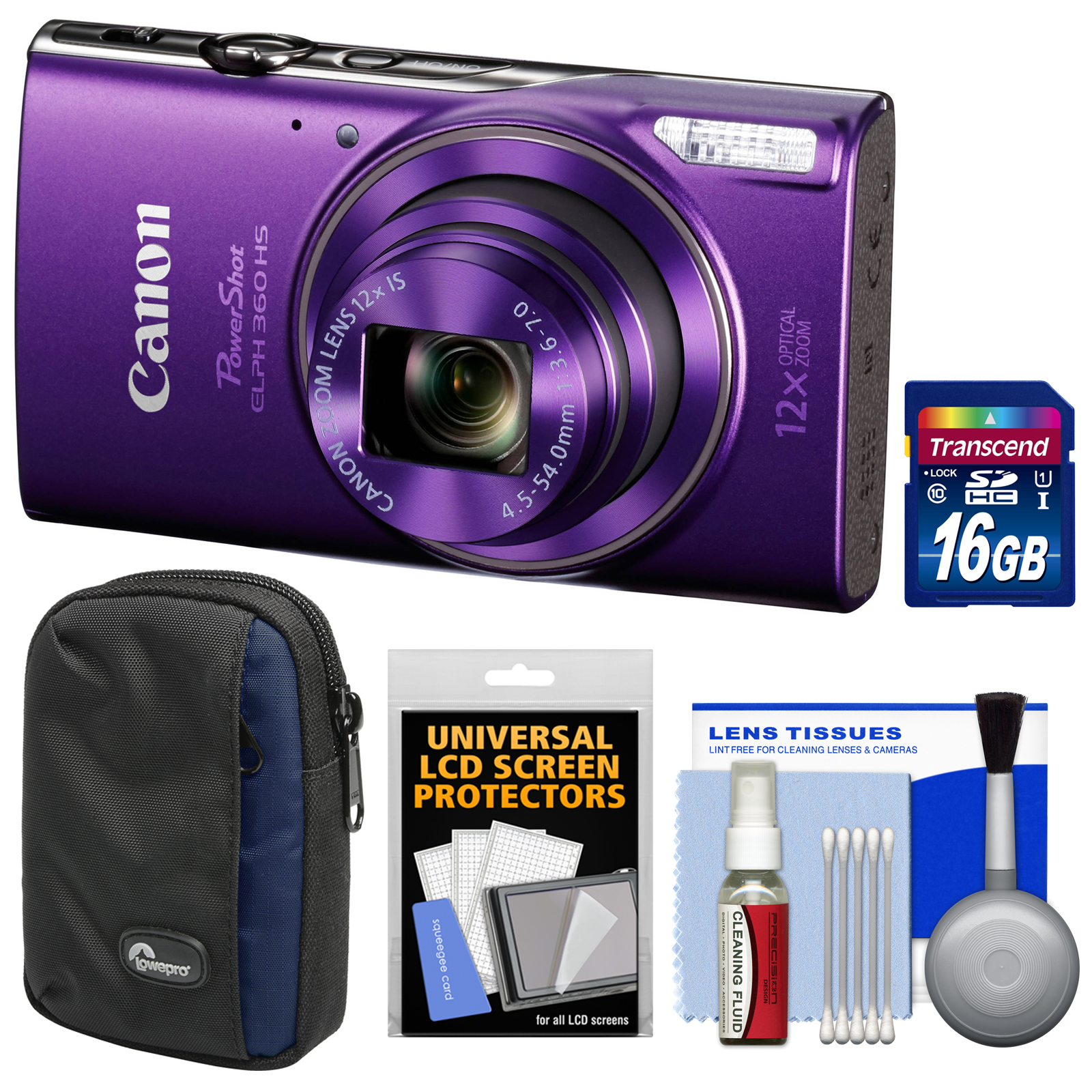 Canon PowerShot Elph 360 HS Wi-Fi Digital Camera (Purple) with 16GB Card + Case + Kit