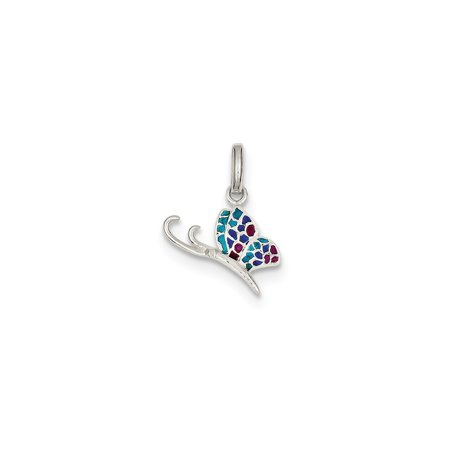 925 Sterling Silver Blue and Red Enamel Butterfly Charm Pendant - 20mm