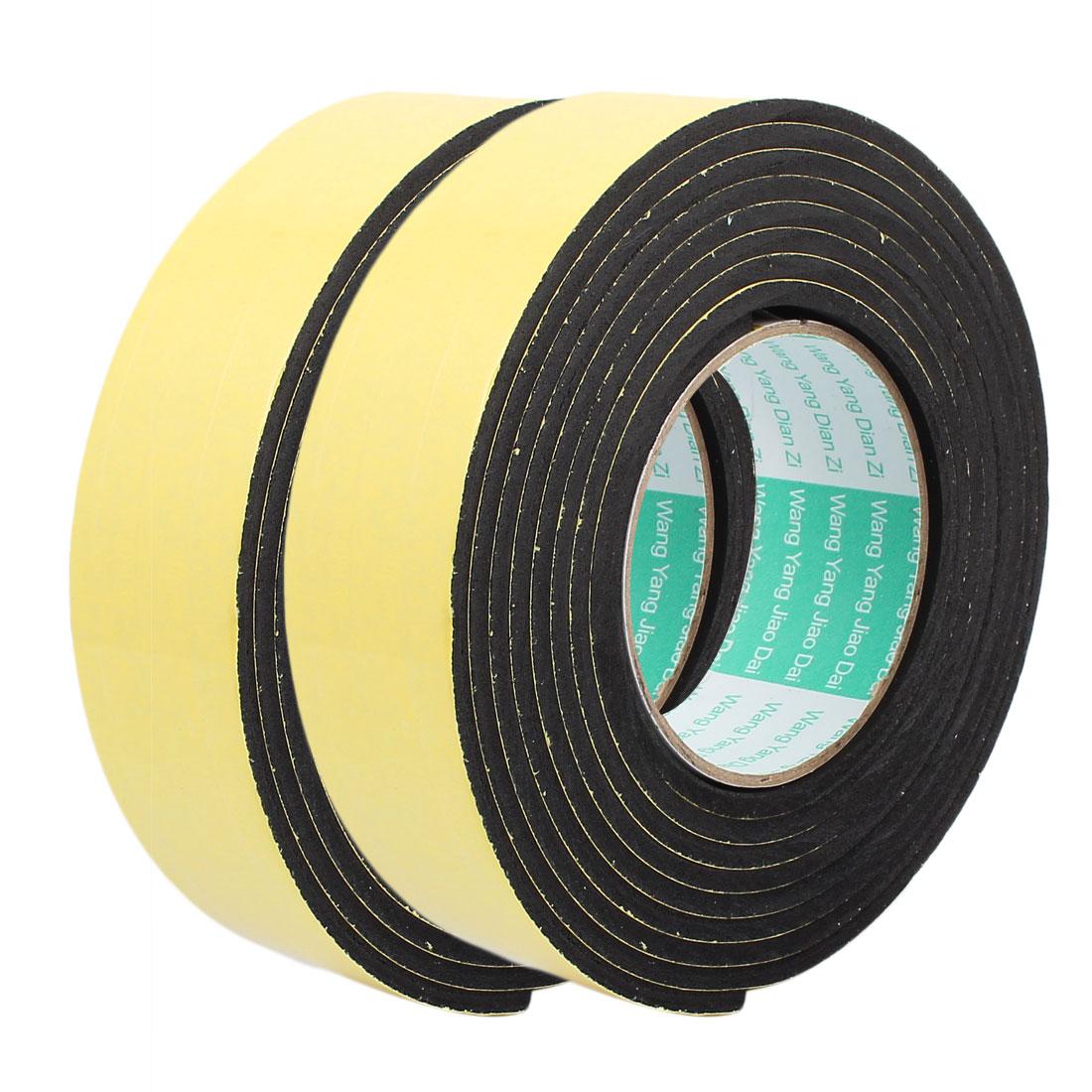 2 Pcs 3 Meter 40mm x 4mm Single-side Adhesive Shockproof Sponge Foam Tape Yellow