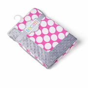 Bacati - Dots Center with Grey Border 30 x 40 inches Plush Blanket, Pink/Gray