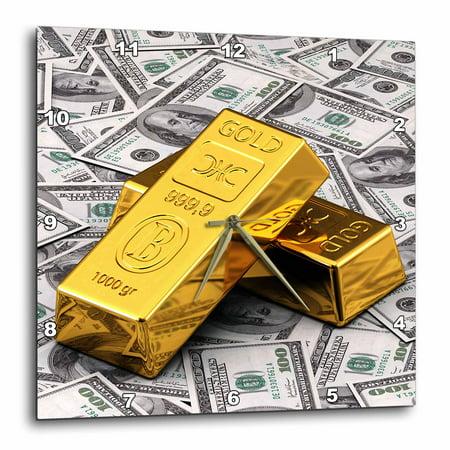 3dRose Gold Bars Bar Bullion Cash Money Dollar Hundred Bill Bills Bank Note Banknote Finance Concept
