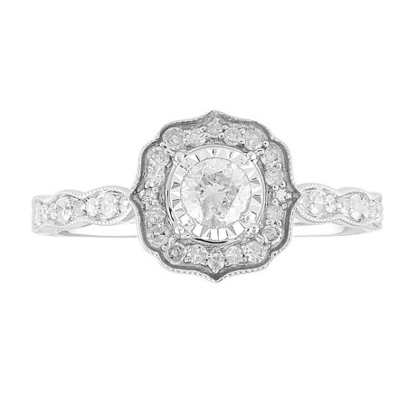 1/2 cttw Art Deco Diamond Engagement Ring with Vintage Halo in 10K White Gold (I-J, I2-I3) Signature Deco Diamond