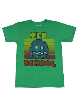 "Pac-Man Mens T-Shirt - ""Old School"" Distressed Big blue Ghost Image (Medium) Green"