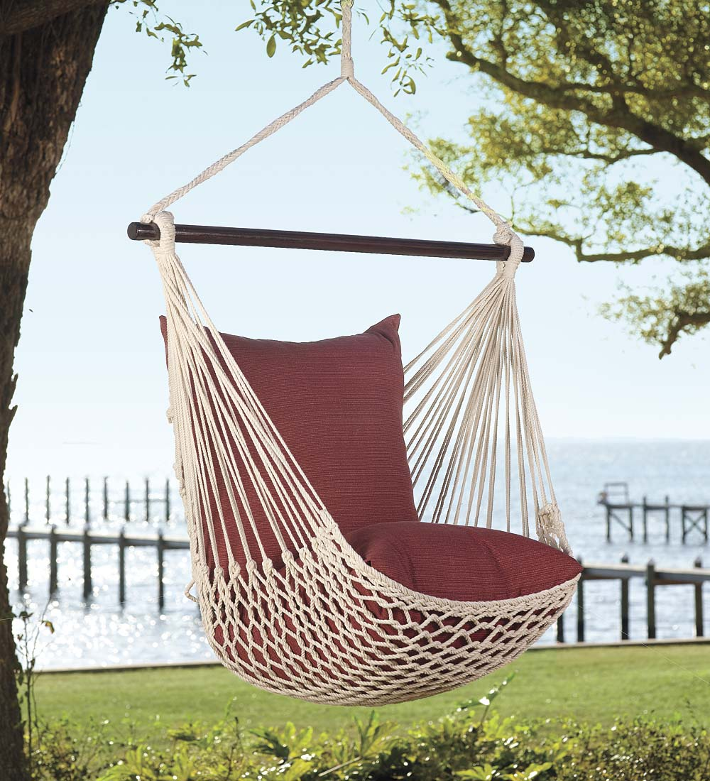 Rope Hammock Swing with Bracing Rod & 2 Pillows