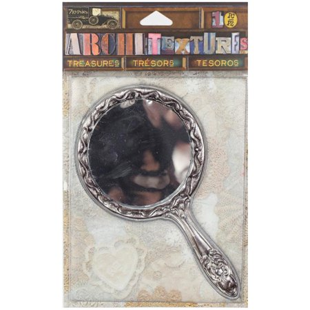7 Gypsies Architextures Treasures Adhesive Embellishments-tarnished Silver Handle Mirror 4.75