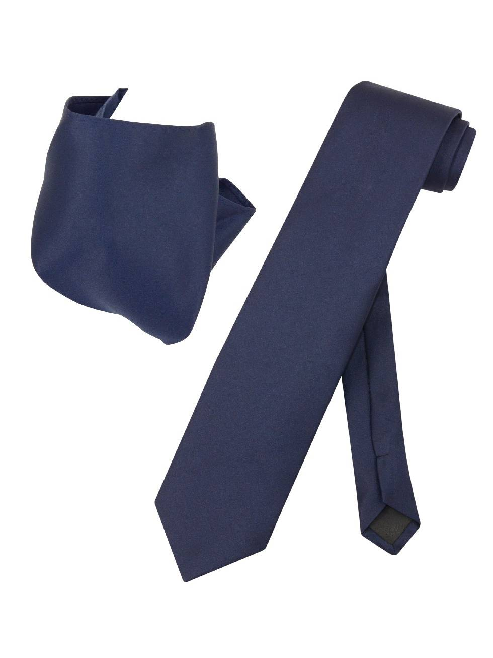 Vesuvio Napoli Solid EXTRA LONG NAVY BLUE NeckTie Handkerchief Mens Neck Tie Set