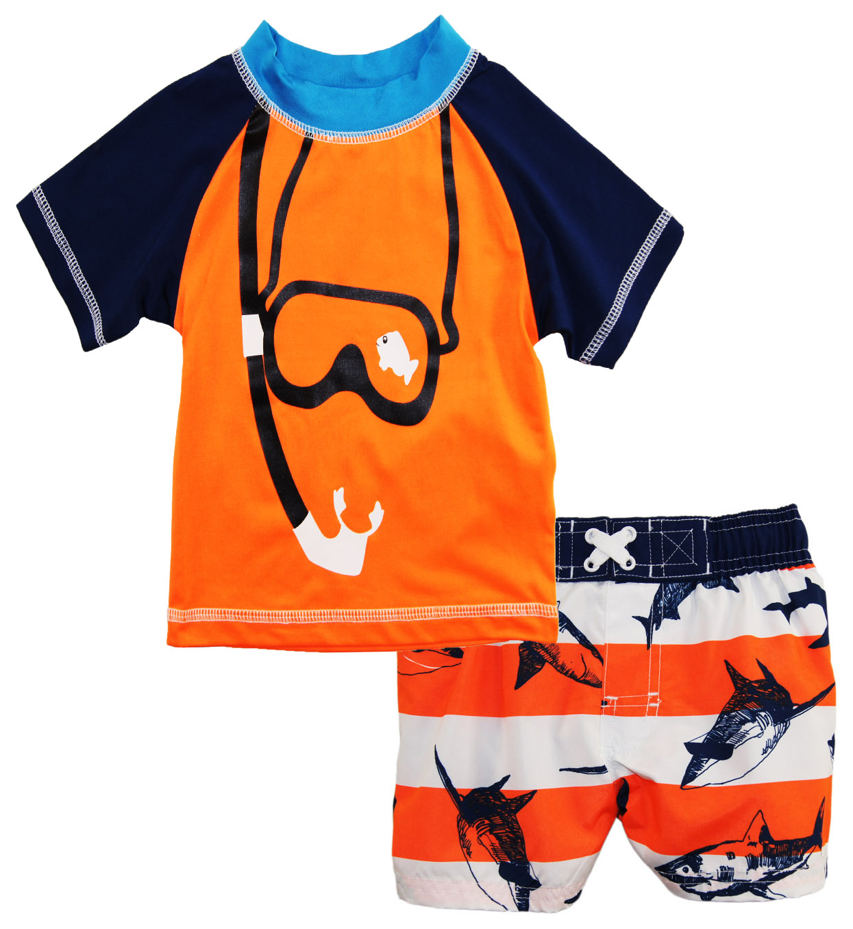 Baby Boys' Snorkeling with Sharks 2-Piece Rashguard Top Swim Short Set