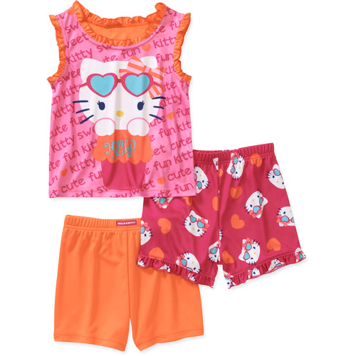 Baby Girls' Hello Kitty 3 Piece Tank and Shorts Pajama Set