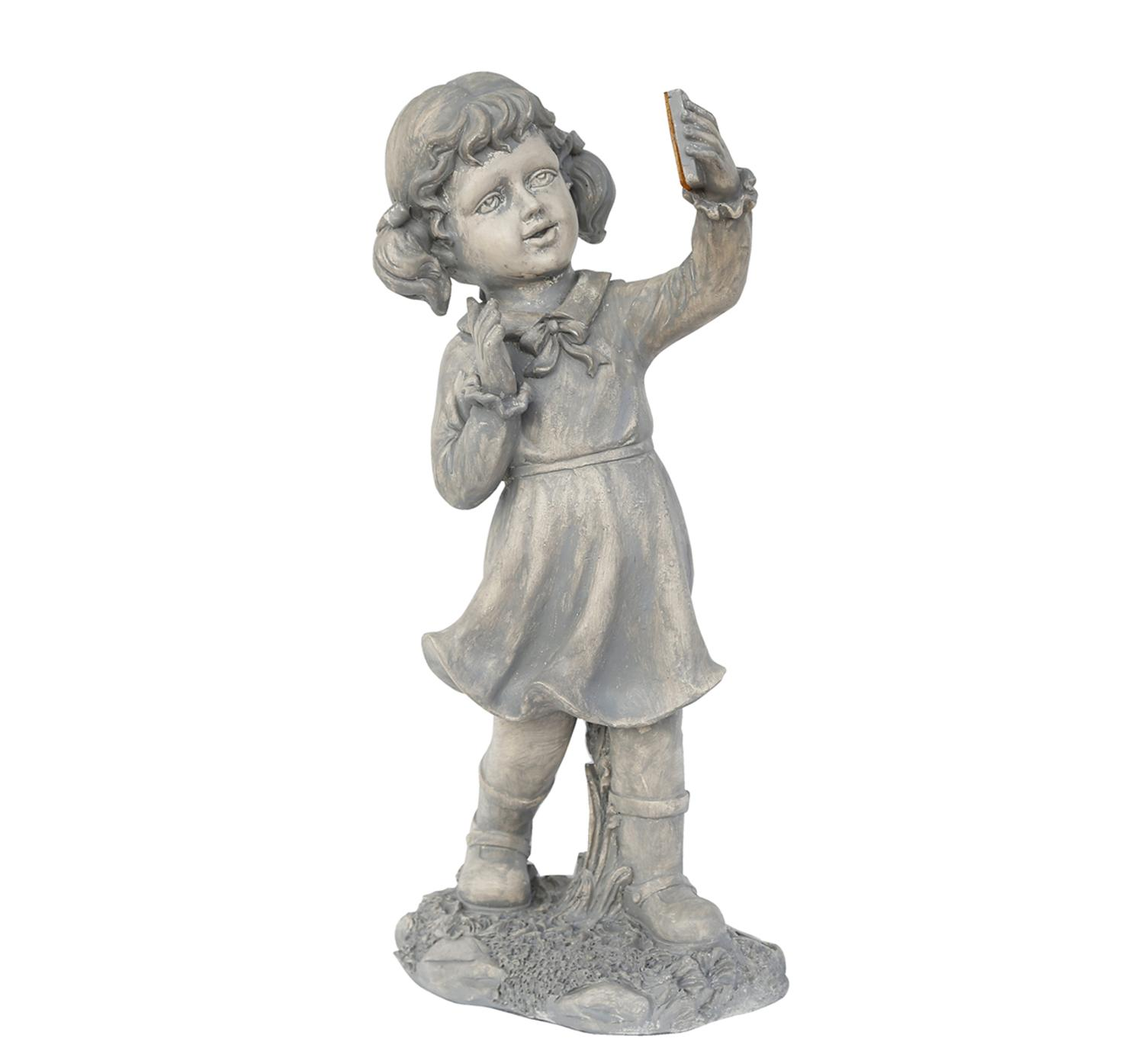 "18"" Distressed Gray Girl with Cell Phone Solar Powered LED Lighted Outdoor Patio... by Northlight"
