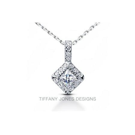 1.06 CT J-SI1 Exc Princess AGI Natural Diamonds 18k Gold Bezel Halo Pendant (Tiffany Jewellery Designs)