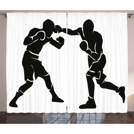 Sports Curtains 2 Panels Set, Black Silhouettes of Professional Boxers Fighters Combative Exercise Punch Attack, Window Drapes for Living Room Bedroom, 108W X 96L Inches, Black White, by