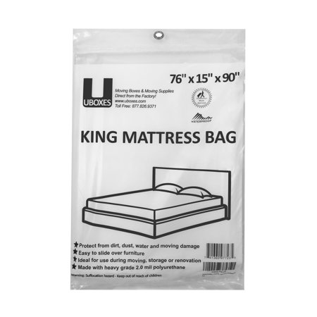 - Uboxes King Mattress Poly Covers, 76 x 15 x 90 in, 1 Pack