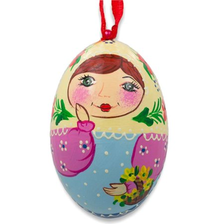Russian Nesting Doll Matryoshka Floral Scarf Wooden Egg Ornament 3 Inches (Russian Nesting Egg)