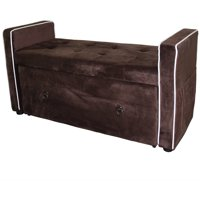 "22"" Brown Suede Shoe Storage Bench"