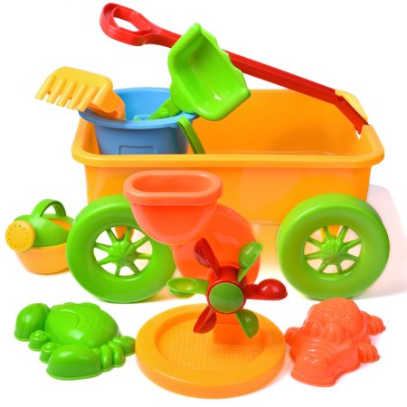 Kids Beach Sand Toys Outdoor Activities Educational Colorful Play Set with Sand Wheel for Watering Can, Shovels Set, Rakes, Bucket, and 2 Sea Creature Molds in a Wagon 8 PCs F-133