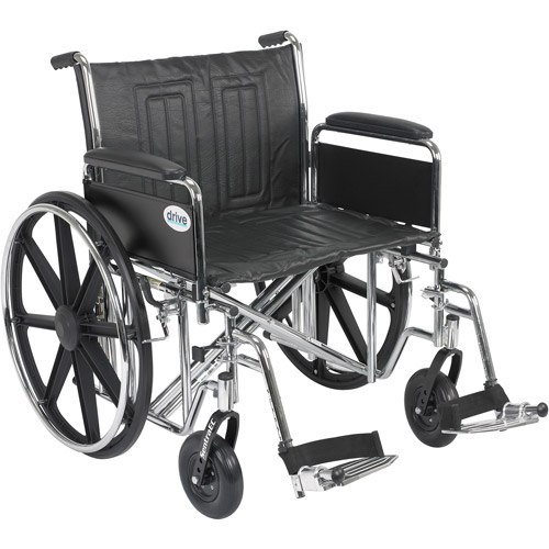 "Drive Medical Sentra EC Heavy Duty Wheelchair, Detachable Full Arms, Swing away Footrests, 24"" Seat"