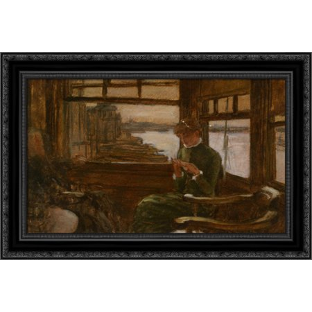 Study of Cathlene Newton in a Thames Tavern 24x18 Black Ornate Wood Framed Canvas Art by Tissot, James Jacques Joseph