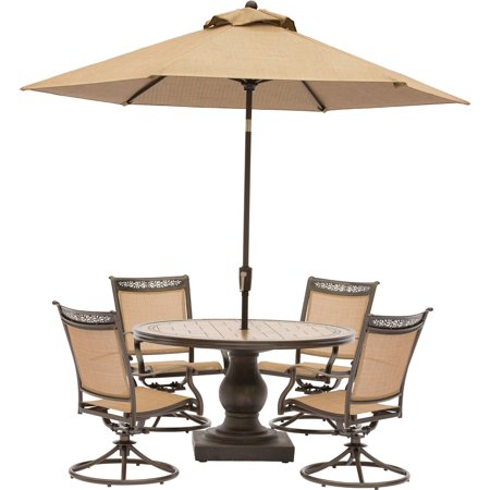 Hanover Fontana 5-Piece Outdoor Dining Set with Swivel Rockers, Tile-Top Table and Umbrella ()