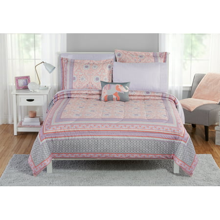 Mainstays floral medallion bed in a bag bedding set, Twin/xl