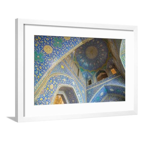 Ceiling of entrance portal in Isfahan blue, Imam Mosque, UNESCO World Heritage Site, Isfahan, Iran, Framed Print Wall Art By James (Best Ceilings In The World)
